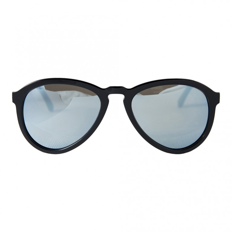 AVIATOR - BLACK GLOSSY LIGHT BLUE MIRROR LENSES