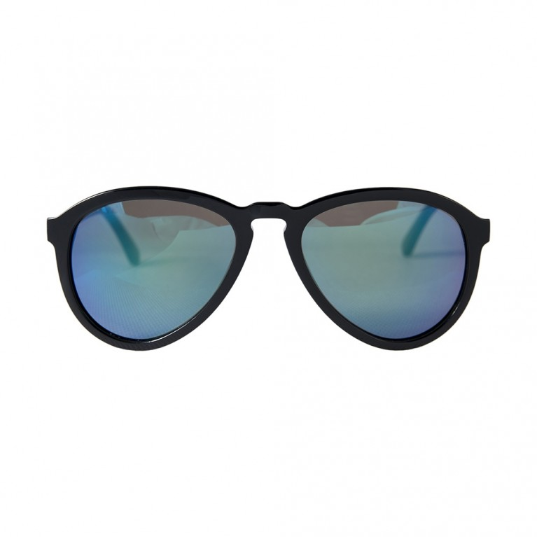 AVIATOR - BLACK GLOSSY GREEN MIRROR LENSES