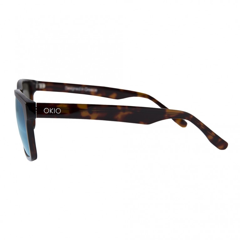 TETRAGONO-BROWN TARTARUGA- LIGHT BLUE MIRROR LENSES