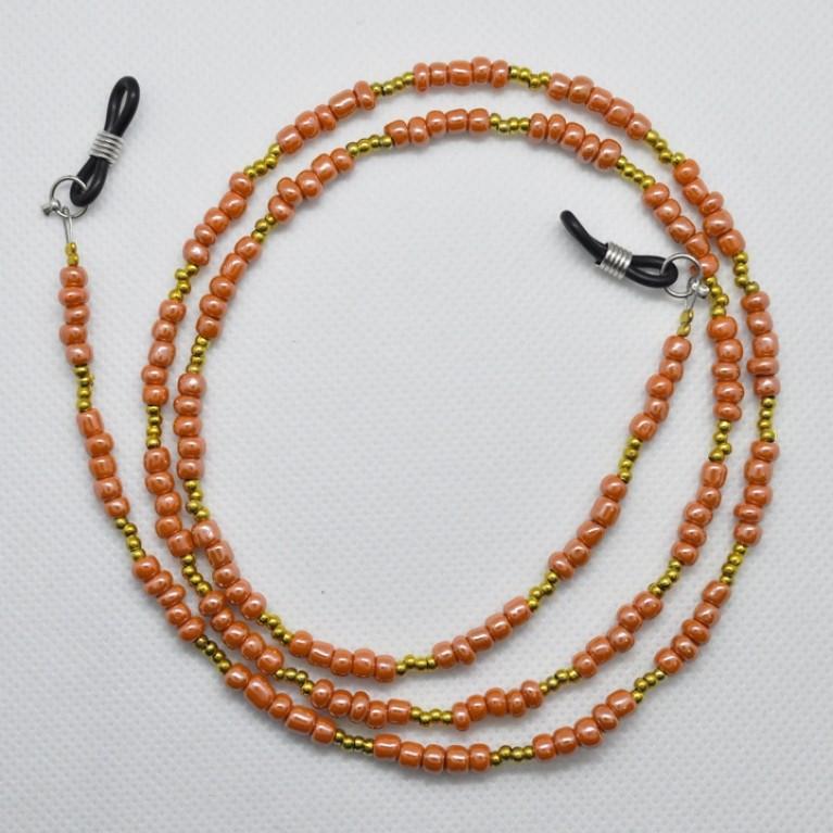Κορδόνι Γυαλιών πορτοκαλί με χάντρες